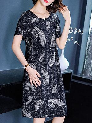 Berrylook Casual Loose Ice Silk Print Shift Dress online shop, shop, sheath dress, floral shift dress