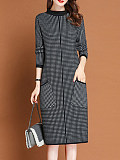 Image of Loose Knit Round Neck Long Sleeve Dress