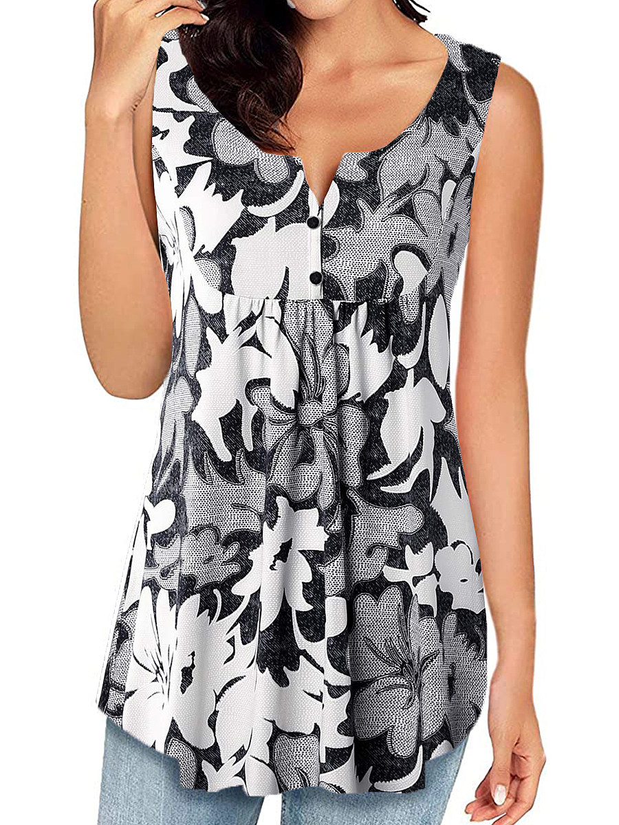 Round Neck Buttons Print Sleeveless T-shirt