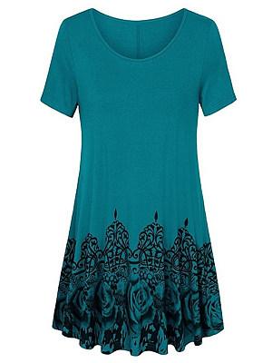 Round Neck Printed Short Sleeve T-shirt, 11586980