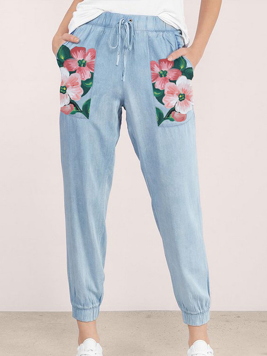 BerryLook Fashionable fresh light blue cotton and linen printed casual pants