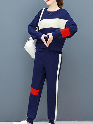 Women's Wild Colorblock Sports Set hoodie gender:female, season:autumn,winter,spring, collar:crew neck, texture:polyester, sleeve_length:long sleeve, sleeve_type:regular sleeve, style:japan and south korea, collar_type:crew neck, dress_occasion:daily, bust:124,clothing length:66,sleeve length:48,pants length:100,