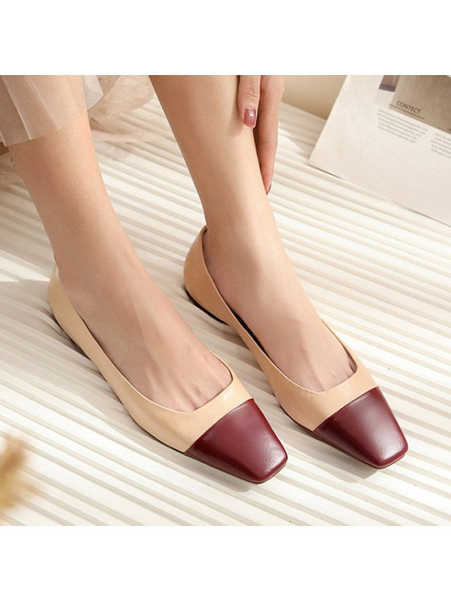 Women's square head shallow mouth color-block shoes