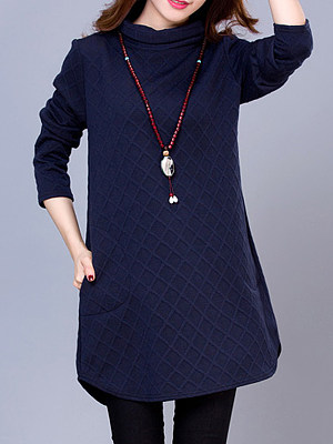 Women's casual solid color mid-length dress, 10709913