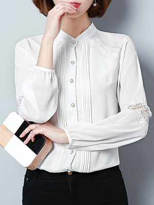 Band Collar Patchwork Lace Long Sleeve Blouse, 11198882