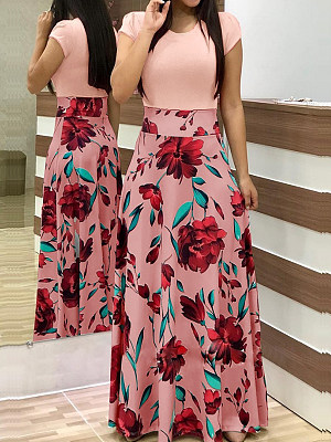 Berrylook coupon: Round Neck Patch Pocket Floral Printed Maxi Dress