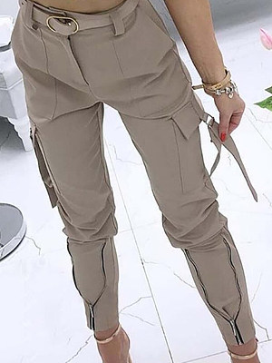 Fashion solid color tooling casual trousers