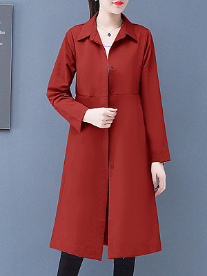 Temperament mid-length fold-down collar trench coat фото