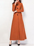 Image of Stand-Up Collar Mid-Length Woolen Coat