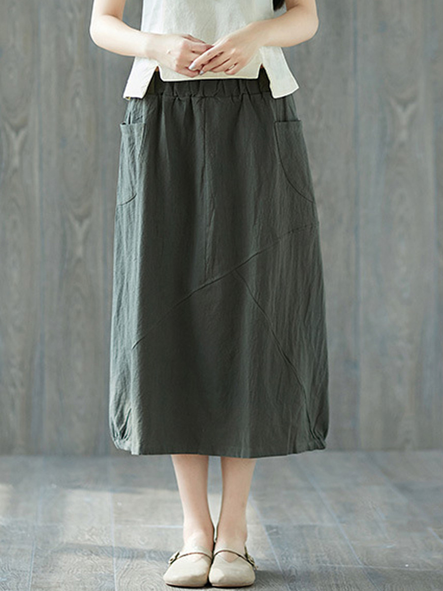 BerryLook Solid color cotton and linen stitching skirt