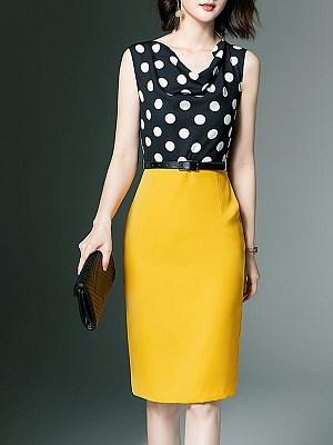 Round Neck Polka Dot Bodycon Dress, 11329787