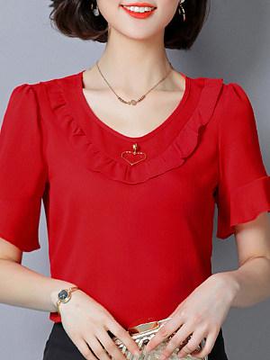 Round Neck Plain Bell Sleeve Blouse, 11163296