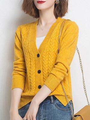 V Neck Plain Long Sleeve Knit Cardigan, 24755754