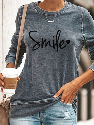 Round Neck Letters Printed Long Sleeve T-shirt, 25318738