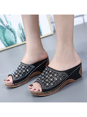 Women Casual Rhinestone Hollow Out  Mid Heel Sandals