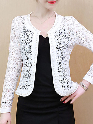 See-Through Floral Plain Beading Long Sleeve Cardigan, 11068889