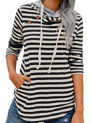 Womens Casual Striped Printed Hooded Sweatshirt, 10643039