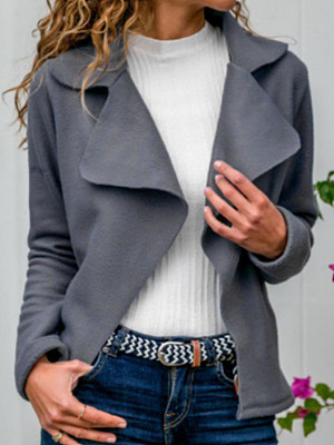 Women's Lapel Faux Deerskin Coat gender:female, season:autumn,spring, texture:polyester, sleeve_length:long sleeve, style:japan and south korea, collar_type:fold collar, dress_occasion:daily, bust:120,clothing length:69,shoulder width:44,