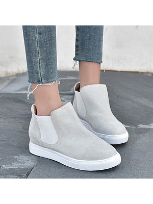 Women's Fashion Solid Color Round Toe Sneakers, 10968134