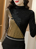 Image of Leopard Mesh And Diamond Bottoming Shirt