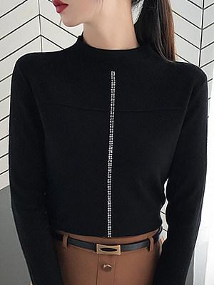 Round Neck Elegant Beading Long Sleeve Knit Pullover, 10490589