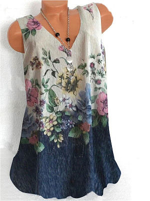 Berrylook coupon: V-neck Floral Print Loose Sleeveless Fashion T-shirt