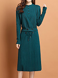 Image of Solid Color Long Sleeve Round Neck Knitted Dress