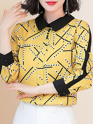 Turn Down Collar Printed Long Sleeve Blouse, 11053874