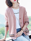 Image of Knitted Long Sleeve Printed Cardigan