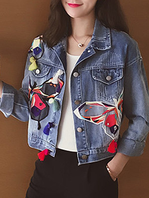 Single-breasted butterfly-embroidered denim jacket