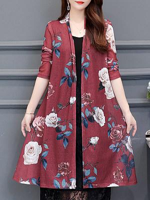 Floral Printed Long Sleeve Cardigan, 11353778