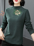 Round Neck Elegant Cutout Long Sleeve T-Shirt