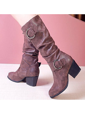Plain Chunky High Heeled Velvet Point Toe Outdoor Knee High High Heels Boots