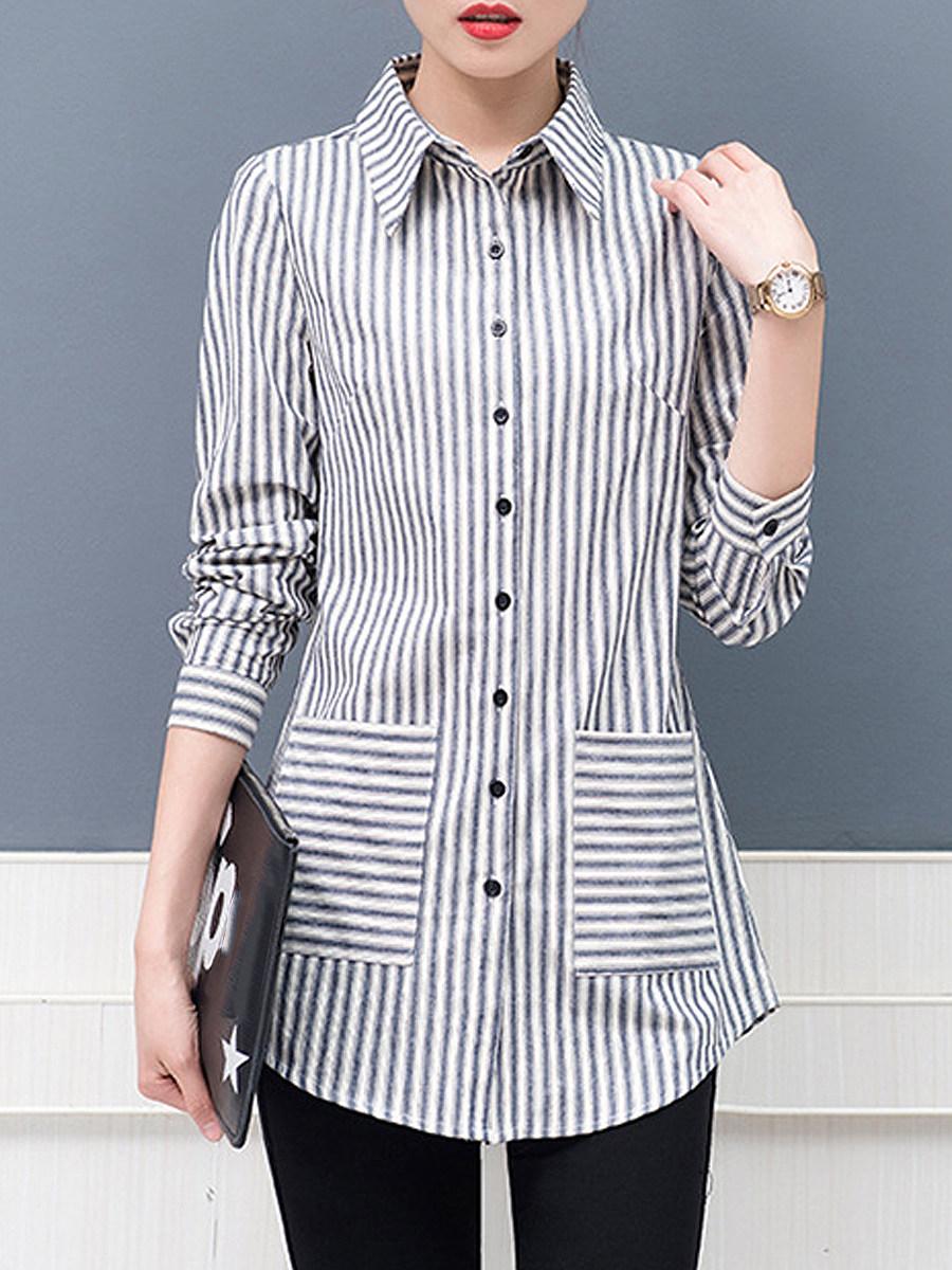 BerryLook Turn Down Collar Striped Long Sleeve Blouse