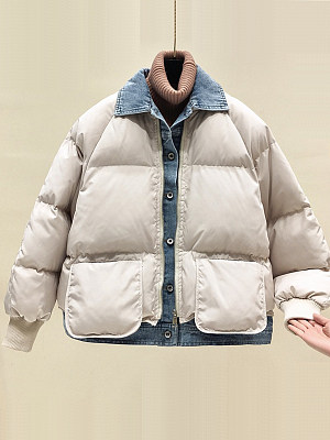 Women's Fashion Short Thick Cotton Coat gender:female, season:autumn,winter, collar:crew neck, texture:cotton, sleeve_length:long sleeve, sleeve_type:regular sleeve, style:japan and south korea, dress_occasion:daily, bust:112,clothing length:71,