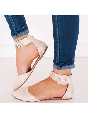 Fashion cotracted ladies hollow buckle flat single shoes, 10739433