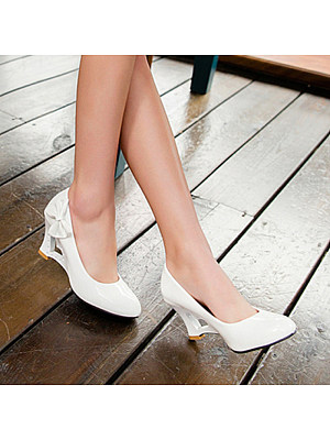 Women's Casual Solid Color Bow Heart Hollow High Heels фото