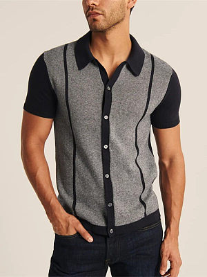 Fashion casual hit color polo T-shirt, 27494310, BERRYLOOK  - buy with discount