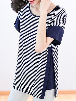Round Neck Patchwork Striped Short Sleeve T-shirt, 23704627