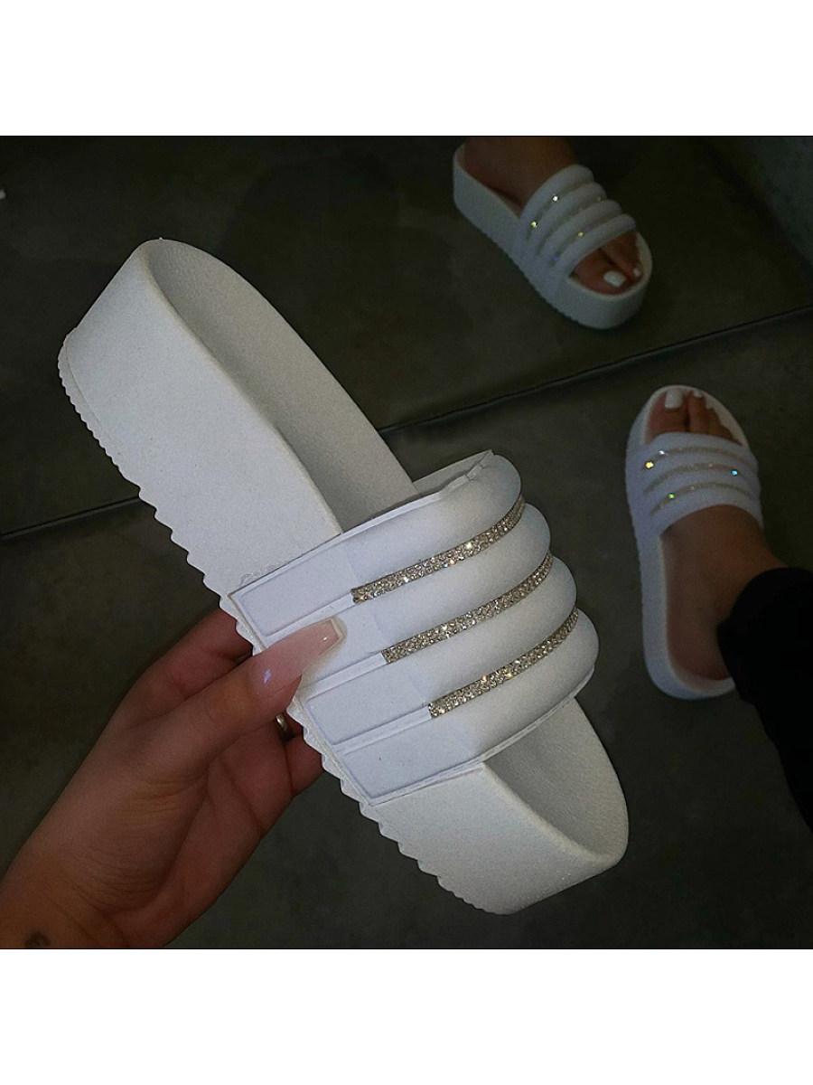 BerryLook Women's platform sandals and rhinestone beach shoes sandals