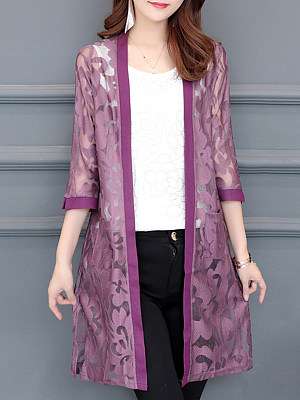 See-through Floral Three-quarter Sleeve Cardigan