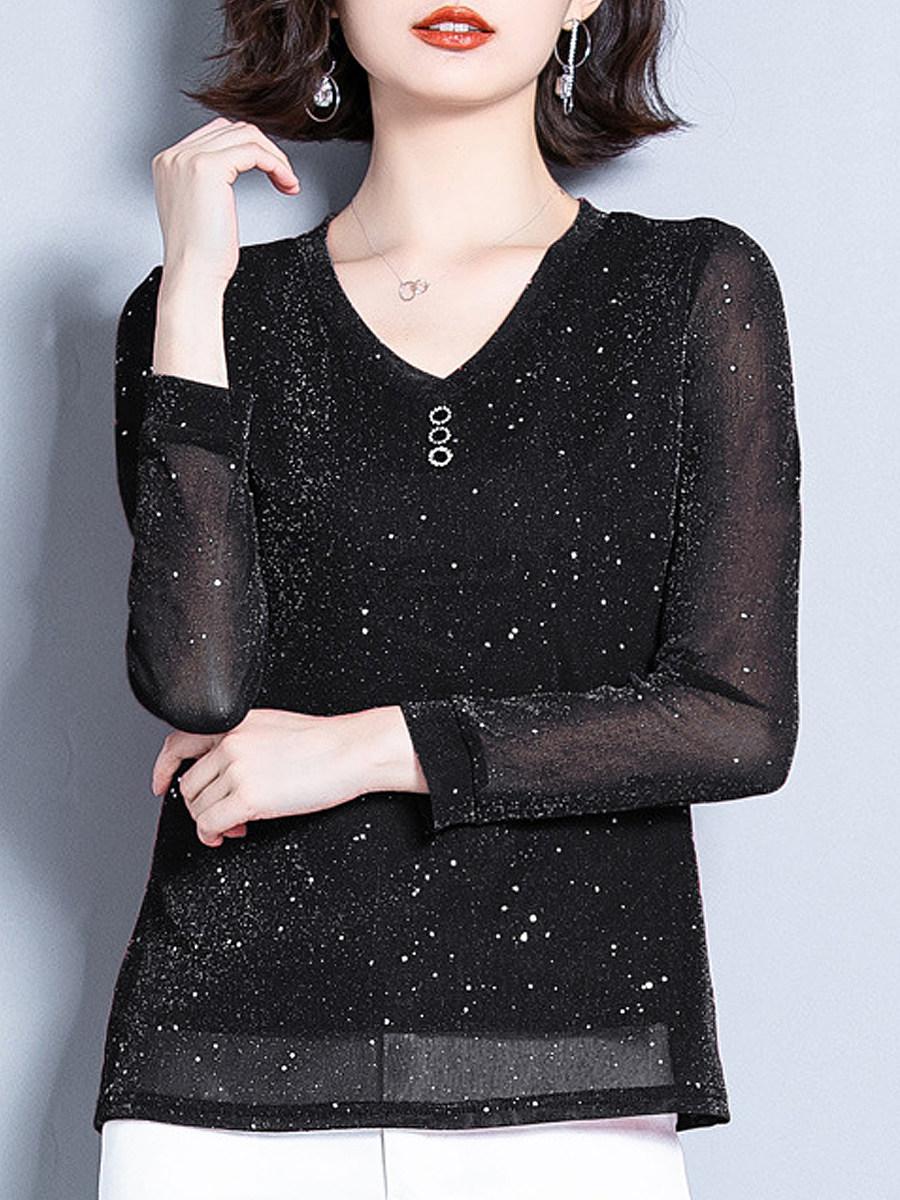 VNeck Elegant Plain Long Sleeve T-Shirt - from $23.95