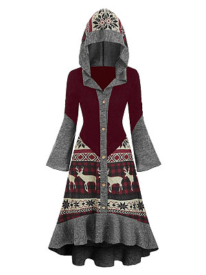 Berrylook Printed Hooded Ruffled Long Sleeve Dress online shopping sites, clothing stores, fit flare dress, floral fit and flare dress