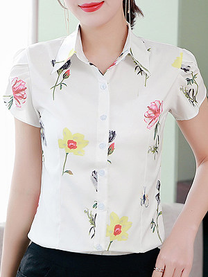 Turn Down Collar Printed Short Sleeve Blouse, 11415297