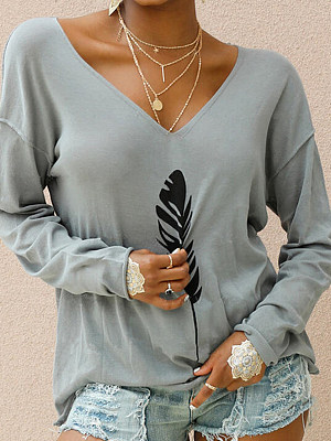V Neck Feather Print Loose Fitting Long Sleeve T-shirt, 25314652