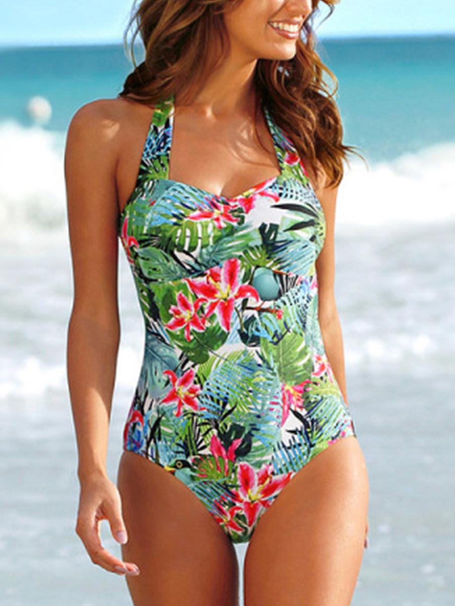 New European and American trade swimsuits cross-border e-commerce printed one-piece bikini