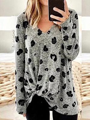 Fashion V-neck Leopard Print Long Sleeve T-shirt, 25358341
