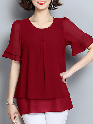 Round Neck Patchwork Bell Sleeve Blouse, 10971366