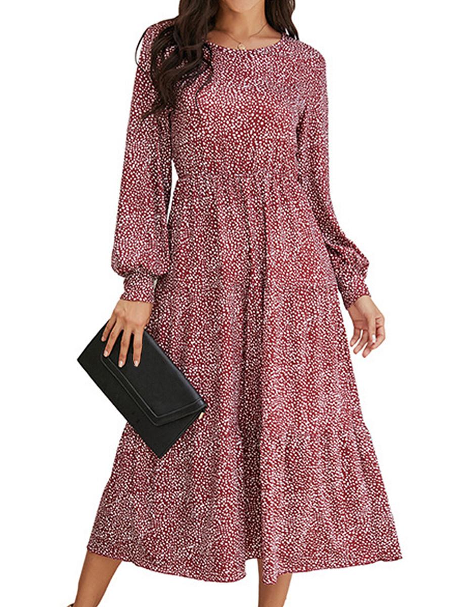 Puff Sleeve Polka Dot Round Neck Dress