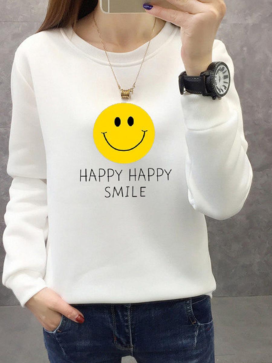 Stylish Round Neck Print Long Sleeve sweater